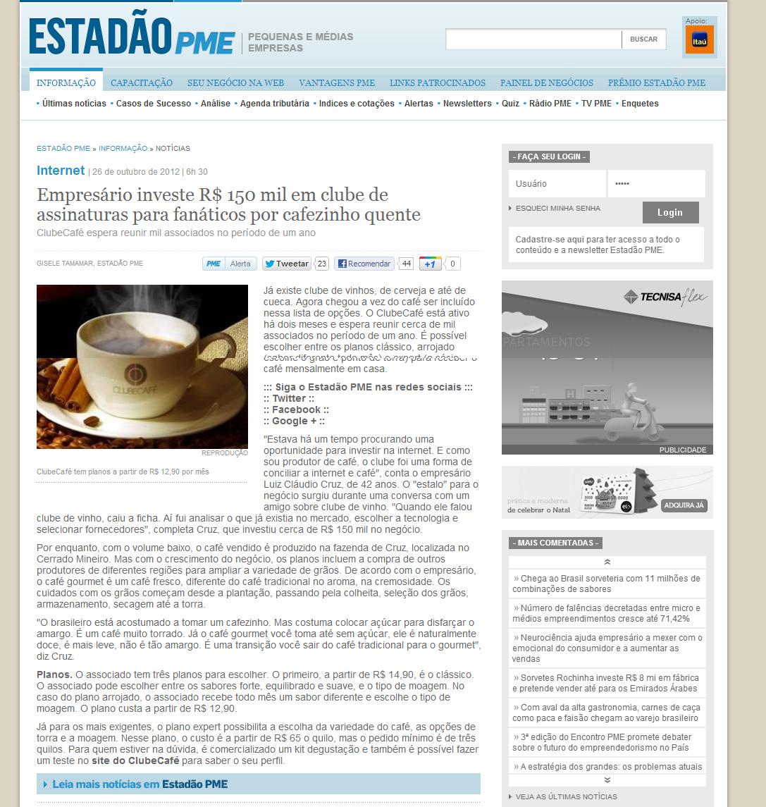 Empresario cria clube especializado em café
